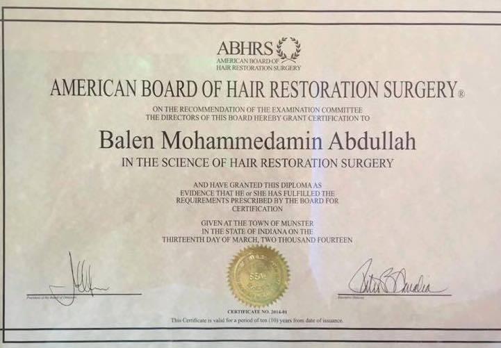 ABHRS Zertifikat für Haartrasnplantation