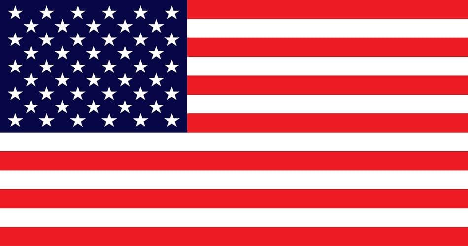 Die amerikanische Flagge auf weißem Hintergrund