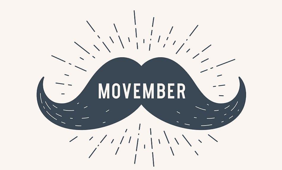 Gezeichneter schwarzer Moustache mit dem Wort Movember in der Mitte