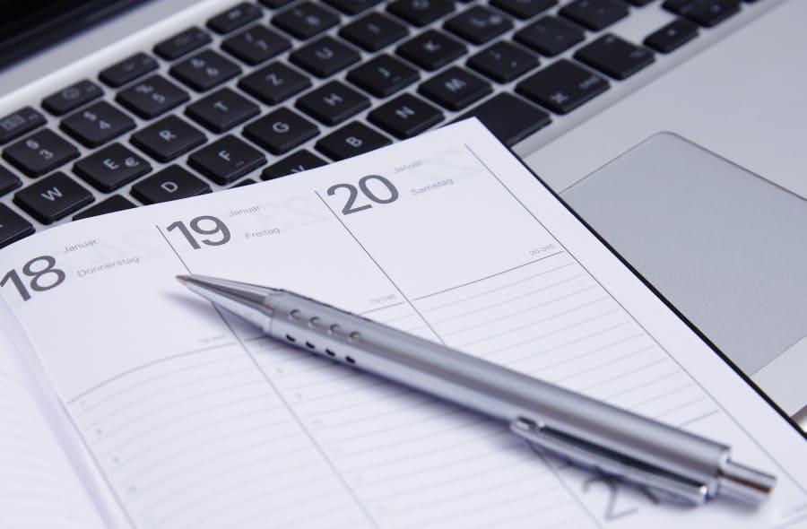 Terminkalender zur Absprache eines Termins.